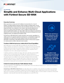Simplify and Enhance Multi-Cloud Applications with Fortinet Secure SD-WAN