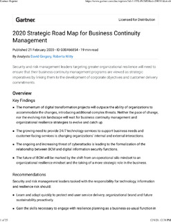 Gartner – 2020 Strategic Road Map for Business Continuity Management