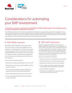 Considerations for Automating Your SAP Environment