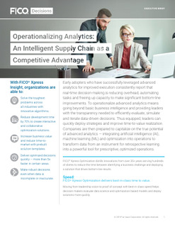 Operationalizing Analytics: An Intelligent Supply Chain as a Competitive Advantage