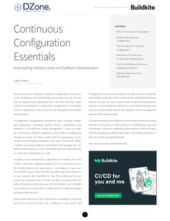 Continuous Configuration Essentials – Automating Infrastructure and Software Development
