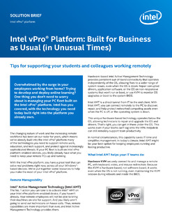 The Intel vPro® platform: technology you need for business today